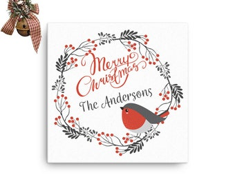 Personalized Christmas Canvas-Personalized Gift-Customized Christmas Canvas-Customized Gift-Wall Art-Bird