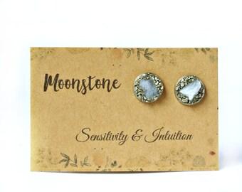 Moonstone, Moonstone Earrings, Moonstone Studs, Moonstone Stud Earrings, June Birthstone Jewelry, June Birthstone Earrings, June Birthstone