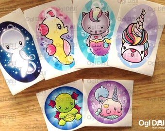 X 3 Cute Stickers, Kawaii Fantasy Stickers, Cute Fantasy Animal Stickers, Kids Cute Stickers, Kawaii Animal Stickers, Cute Stationery