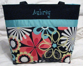Personalized Diaper Bag Tote  Michael Miller Flower Shower Clementine . Weekender/XL size . monogrammed FREE .  girl diaper bag or tote