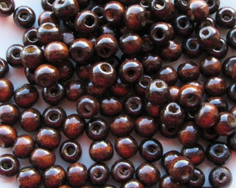 Dark Brown Polished Wooden Beads Round 9x10mm With a Large 3.5mm Hole Spacer Beads