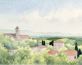 Original watercolor ACEO painting - Volterra