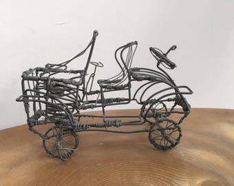 Vintage Wirework Motor Car Sculpture - hand made, folk art wire frame figurine