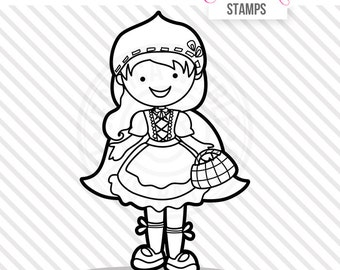 Red Riding Hood Cute Digital Stamp, Red Riding Hood Blackline, Hooded Girl Black and White Outline, Woodland Girl Line Art, Instant Download