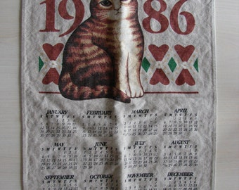 1986 Calendar Tea Towel – Cat Calendar Towel