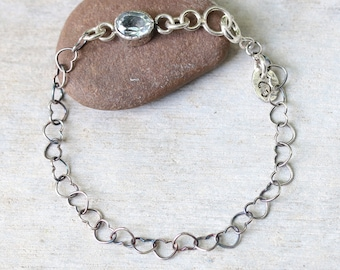 Bracelet,oval faceted blue topaz in silver bezel setting and oxidized sterling silver in heart shape design chain/TP