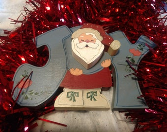 Vintage Wooden Santa Joy sign Christmas