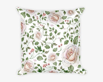 Leaf and Flower Pattern Pillow Case