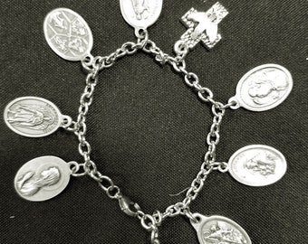 Holy Family, 4 Archangels, Sts Anthony and Francis Bracelet w Archangels Michael, Raphael, Gabriel, and Uriel, Spiritual Healing Protection
