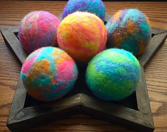 Ovella Wool Dryer Balls: The Doces Tye Dye Collection set of Three (3) bright, colorful, pink, purple, teal, reusable, yellow, orange