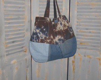 Large Tote Bag, Upcycled Tie Dye Shorts, Denim, Bohemian, Groovy, Gypsy, Hippie Bag