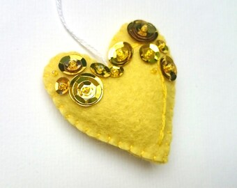 Felt heart ornament in yellow and gold - for her Valentine's day decoration even for Christmas Baby shower idea It's a Girl décor