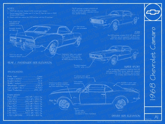 1968 chevrolet camaro blueprint poster 18x24 jpeg malvernweather Choice Image
