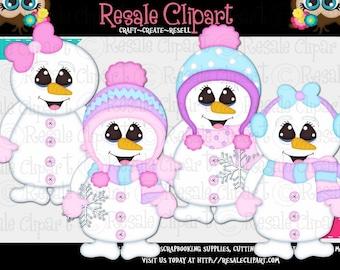 Cute Snowgirl Clipart (Digital File Download)