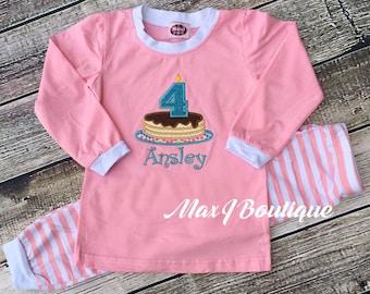 Pancake Birthday pajamas - Monogrammed Applique Pink Stripe PJ's