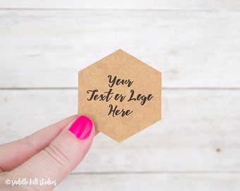 "Custom Stickers - Custom Labels - 2 x 2.25"" Hexagon Stickers - Set of 24 - Personalized Labels - Kraft Stickers - S0110-3"