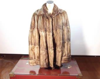 Vintage Rosenburg's Muskrat Real Fur Coat - Real 3/4 Length Mink Coat - Ladies Medium Length Real Fur Coat - Fur Jacket