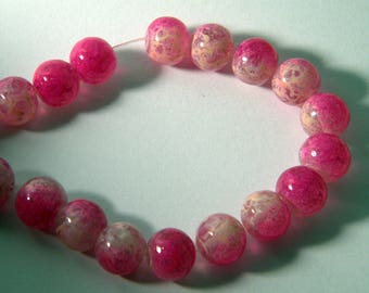 20 trefilee 8 mm neon pink glass beads