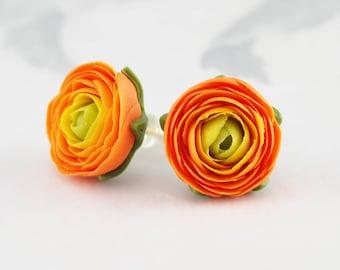 Flower earrings stud, orange ranunculus flower small stud earrings, polymer clay jewelry, floral everyday earrings