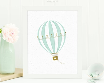Hot Air Balloon Nursery Wall Art, Printable Wall Art, Baby Shower Gift, Digital Download Art, Hot Air Balloon Nursery Decor, Baby Gift