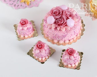 Pink Rose Pastry (Round) - 12th Scale Miniature Food (Pink Collection 2014)