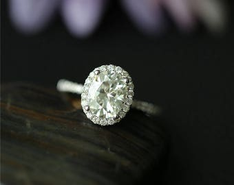 Forever One(Color G H I) Oval Moissanite Ring, 1.5 CT 6X8mm  Moissanite Engagement Ring,Diamond Wedding Ring ,Solid 14K White Gold Ring,