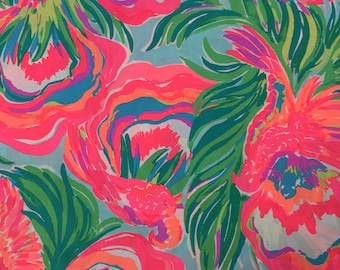 "serene blue paradise bound poplin cotton fabric square 18""x18"" ~ lilly pulitzer"