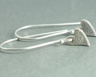 Tiny Fine Silver Floral Heart Earrings