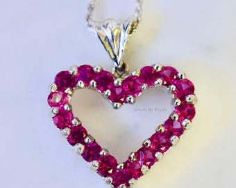 14K White Gold 2.35 Carat Pink Topaz Heart Necklace