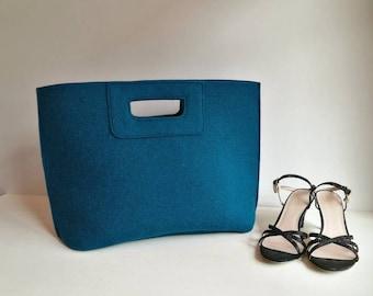 Casual elegant blue bag, teal felt bag, wool bag, hand bag, Italian bag, blue shopper, azure shopping bag, hand made in Italy bag, BeFeltBag