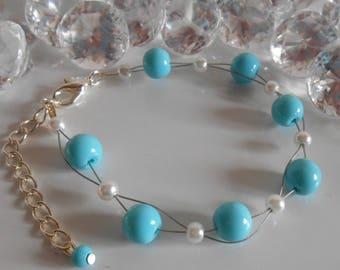 Wedding bracelet twist of white and turquoise beads