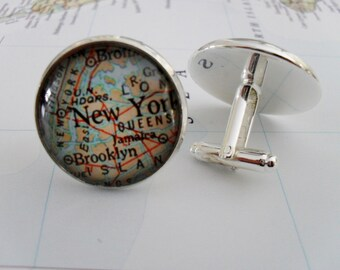 Custom Map Cufflinks / Personalized Map Cuff links / Groomsmen Gift / You Pick Location / Vintage Map Cufflinks / Mix and match locations