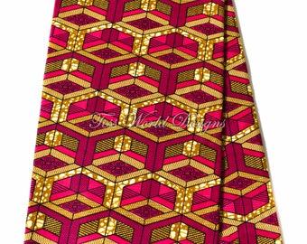 African fabric 6 yards/ Ankara fabric wholesale/ Supreme Wax Holland/ African Fabric/ Ankara print fabric/ blocks fuchsia WP1155