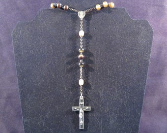 """ANTIQUE ROSARY Beads with Crucifix, Catholic, Double-sided Medal, and Silver Tone Chain, Inspirational, 21"""" Long"""