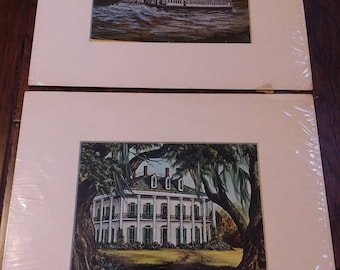Delta Queen & Oak Alley prints from Packard Gallery, Marcella Packard New Orleans 1977 signed