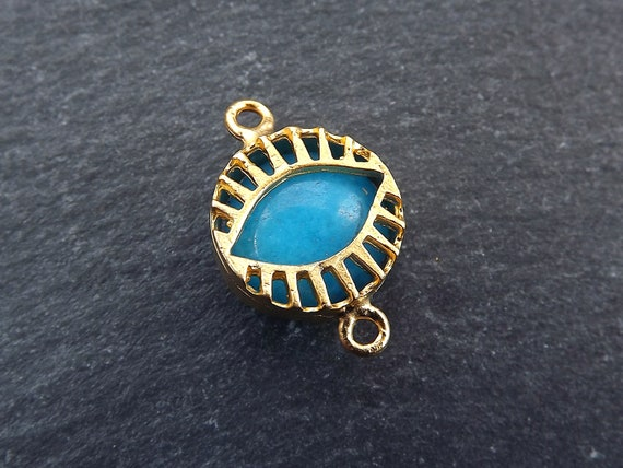Blue Evil Eye Charm Jade Stone Connector, Evil Eye Pendant, Caged Evil Eye, Necklace Pendant, Lucky, Protective   22k Matte Gold Plated by Etsy