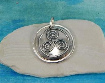 Triskele Pendant, Inspirational Jewelry, Personalize Triple Spiral Pendant, Celtic Jewelry, Momentum Charm, Large Fine Silver Pendant