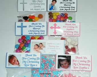 30 Personalised DIY Christening Day Sweet Bag WRAPPERS Favours - Favour - Party