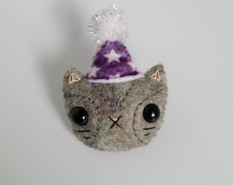 Grey Felt Cat in a Party Hat Pin