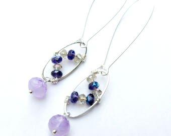 Purple and Lavender Wire-Wrapped Long Dangle Earrings, Zig Zag Beaded Earrings