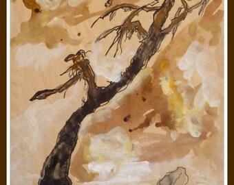ORIGINAL: Old tree in a stony desert. Original Handmade Aquarel at Postpaper.
