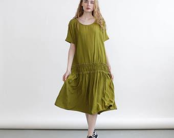 Miro Dress, Elastic band midi dress , Green sundress. Maxi Dress