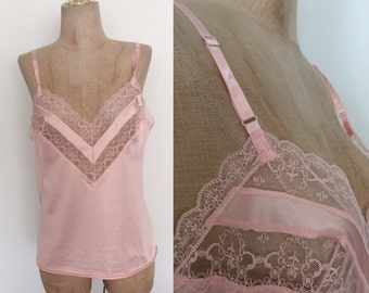 1980's Pink Nylon Lace Camisole Size Small Medium by Maeberry Vintage