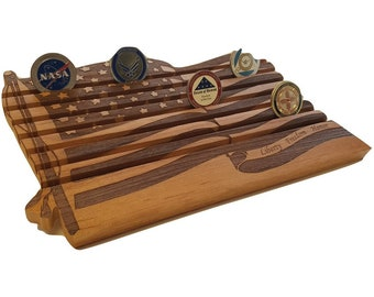 Military US Flag Coin Display, 42 Count Coin Holder - Thin Blue Red Line Army, Navy, Coast Guard, Air Force
