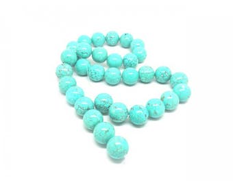 Round Turquoise beads 32 natural 12mm