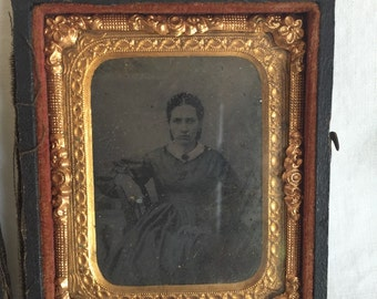 Antique Tin Type in Frame, Traveling Frame Tintype of Woman, Brass Frame and Picture are in Great Shape