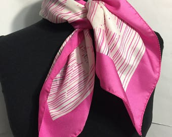 Vintage Scarf - Pink White - Girly Scarf - Square Scarf - Retro Scarf
