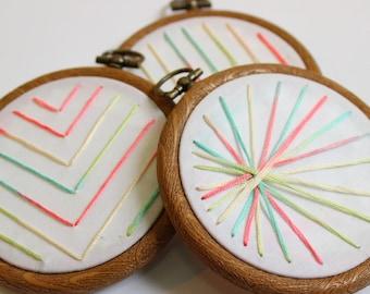 Geometric embroidery hoop art, geometric hoop art, geometric embroidery, geometric textile art, geometric home decoration, housewarming gift