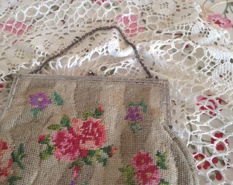 1950s could be earlier needlepoint bag