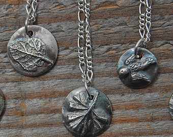 silver necklace, herb necklace, rosemary necklace, sage necklace, thyme necklace, oregano necklace, geranium necklace, chef gift, gardener